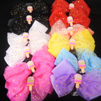 "5"" 2 Layer Gator Clip Bows w/Sparkle Lace  Ice Cream Theme 12 per pk    .54 each"