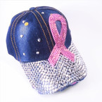 Pink Ribbon Stone  & Silver Baseball Caps Dark Denium sold by pc $ 4.00 each