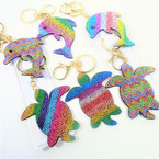 "3"" Multi Color Acrylic Stone Dolphin & Turtle Fashion Keychains w/ Clip .56 each"