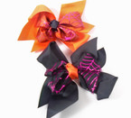 "5.5"" Black & Orange Halloween Gator Clip Bows w/ Metallic Spider Web  .54 each"