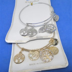 Gold & Silver  Wire Bangles w/ Tree of Life   Charms (2069) .54 ea