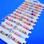 Colorful Beaded Cord Bracelets w/ Cry. Stone Eye Center  12 per card  .54 each