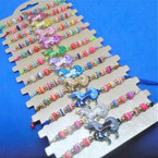 Colorful Beaded Cord Bracelets w/ Epoxy Unicorn   12 per card  .54 each