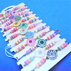 Colorful Beaded Cord Bracelets w/ Round Center Design    12 per card  .54 each