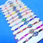 Colorful Beaded Cord Bracelets w/ Cowrie Shell Look Center    12 per card  .54 each
