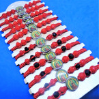 Red Macrame & Bead Bracelet w/ Guadalupe Picture Center  12 per cd .54 each