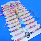 Colorful Beaded Cord Bracelets w/ Heart  Center  Charm 12 per card  .54 each