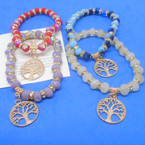 Asst Color Bead & Crystal Stretch Bracelet w/ Gold Tree of Life Charm .54 ea