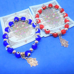 Blue & Red Eye Bead Stretch Bracelets w/ Silver Hamsa  Charm .54 ea
