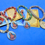 Divine Mercy Crystal Stone Charm Bracelet w/ Lords Prayer Card .54 each
