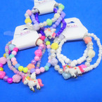 Cute 3 Strand Kids Stretch Unicorn Theme Bracelets (49) .50 per set