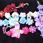 Imitation Flower Headbands w/ Elastic Back Asst Colors .54 each