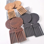 "3.75"" Afro Engraved Hair Pic Wood Fashion Earrings  .54 per pair"