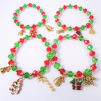 Red & Green Crystal Bead Bracelets w/ Christmas Charms 12 per pk  .56 each