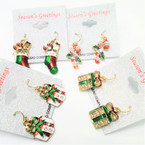 Cast Festive Epoxy Christmas Earrings w/ Stones  mixed styles .56 per pair