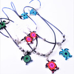 "18"" Black Cord Necklace Set w/ Colorful Turtle Pendant & Earrings .60 ea set"