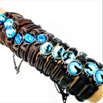Teen Leather Bracelets w/ Wolf Theme .54 ea