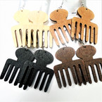 "2.5"" Woodtone Natural Beauty Imprint  Hair Pic Wood Earrings .54 ea"