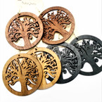 "2.75"" Woodtone Color Tree of Life Theme  Wood Earrings .54 ea pair"