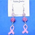 "2"" Pink Ribbon Theme 3 Part Dangle Earrings   .54 per pair"