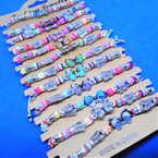 Colorful Beaded Cord Bracelets w/ Butterfly Theme  12 per card  .54 each