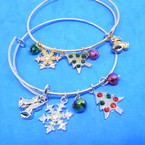 Gold & Silver  Wire Bangles w/ Christmas Theme Charms (2328)  .54 ea