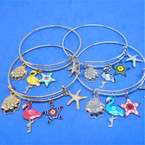 Gold & Silver  Wire Bangles w/ Flamingo & Nautical Charms   .54 ea