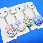 DBL Sided Oval Glass Keychains w/ Dream Catcher Theme .56 each