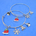 All Silver  Wire Bangles w/ Christmas Theme Charms (2326)  .54 ea