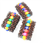 "2"" Wide Wood Stretch Bracelets w/ Multi Color Center 12 per pk .54 each"