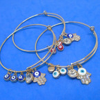All Gold Wire Bangles w/ Eye Beads & Hamsa Charm  .54 ea