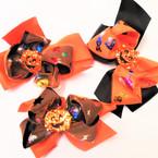"5.5"" Halloween Theme Gator Clip Bows w/ Sparkle Pumpkin"