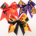 "6"" Halloween Tail Style Gator Clip Bows w/ Crystals  12 per pk"