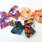 "5"" Halloween Theme Gator Clip Bows 3 styles per dz"