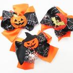 "5.5"" Halloween Theme Gator Clip Bows w/ Black Web 3 styles"
