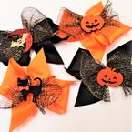 "5.5"" Halloween Theme Gator Clip Bows w/ mixed styles"