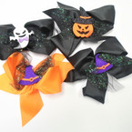 "5.5"" Halloween Theme Gator Clip Bows w/ mixed styles  sparkle lace"
