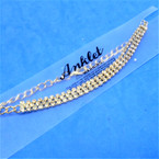 Gold 3 LINE Rhinestone  Chain Anklets 12 per card   .54 each