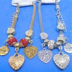 Pandora Style Charm Bracelets Gold/Silver w/  Love Heart Theme  .56 ea