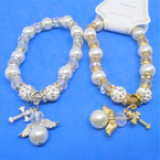 Crystal Beaded & Pearl  Bracelet w/  Angel Charm & Fireball Beads   .60 ea