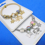 Gold & Silver Spring Style Bracelet w/ Butterfly/Elephant  Charms  .54 ea