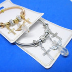 Gold & Silver Spring Style Bracelet w/ Angel & Cross   Charms  .54 ea