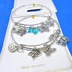 Gold & Silver  Wire Bangles w/ Mixed Butterfly Charms   .54 ea