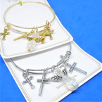 Gold & Silver Wire Bangle Bracelet w/ Angel & Cross   Charms  .54 ea