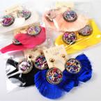 "3"" Trendy Fringe Earrings w/ Rd. Stone Top Asst  Colors .54 per pair"
