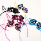 Fashion Unicorn Plastic Headbands w/ Side Sequin Bow .54 each