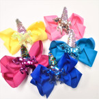 New Unicorn Theme Gator Clip Bows w/ Sequin Unicorn w/ Horn .54 each