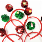 Red & Green Tinsel Ball Bobble Christmas Headbands w/ Figure .56 each