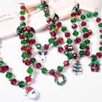 Red & Green Crystal Bead Bracelets w/ Christmas Charm & Bells 12 per pk  .56 each