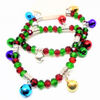 Red & Green Crystal Bead Bracelets w/ Jingle Bells 12 per pk  .54 each